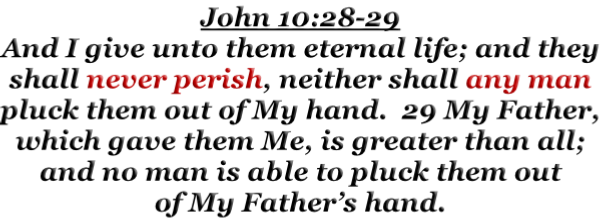 John 10:28-29 And I give unto them eternal life; and they shall never perish, neither shall any man pluck them out of My hand.  29 My Father, which gave them Me, is greater than all; and no man is able to pluck them out of My Father's hand.
